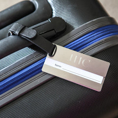silver tone luggage tag