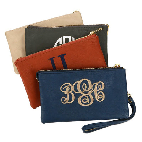 Luxe Monogram Zip Top Wristlet