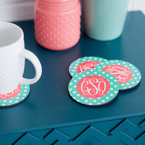Mint Polka Monogram Coasters - Set 4