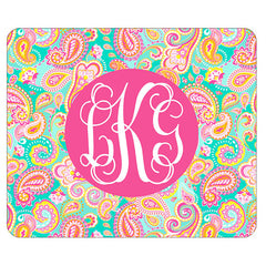summer paisley monogram mouse pad