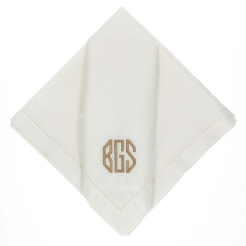 monogram white dinner napkins