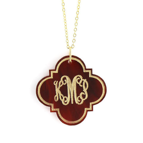 Acrylic Monogram Necklace - Quatrefoil