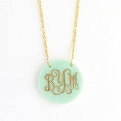 Round Monogram Acrylic Necklace