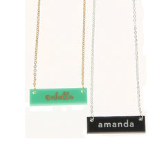 monogram acrylic bar necklace