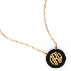 classic monogram round acrylic necklace