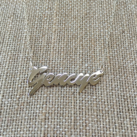 Chloe Sterling Silver Nameplate Necklace