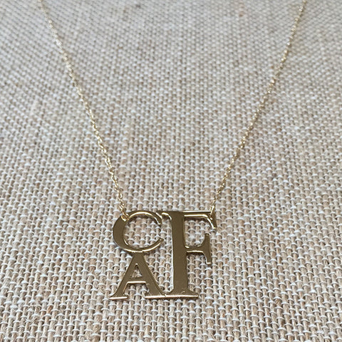Stacked Monogram Necklace - Gold