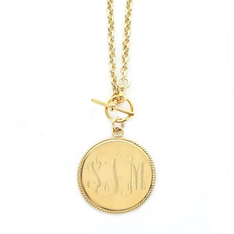 Monogram Gold Tone Necklace - Medium