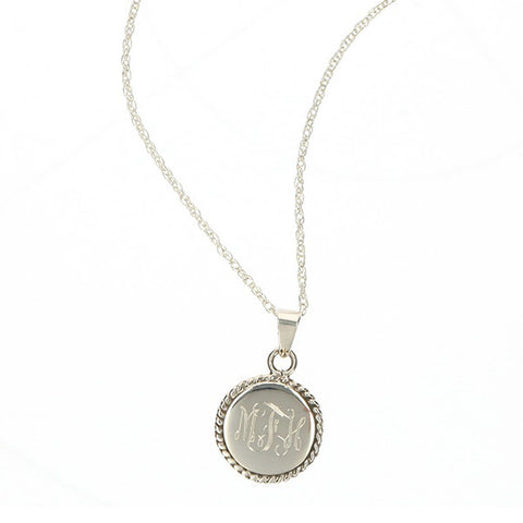Monogram Necklace with Braided Trim