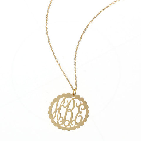 Gold Monogram Necklace - Scallop