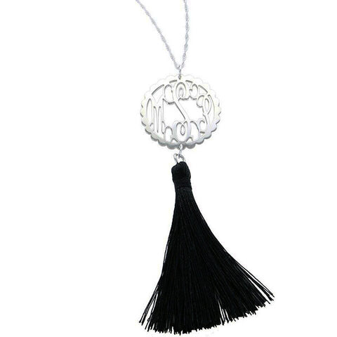Sterling Silver Monogram Tassel Necklace - Scallop