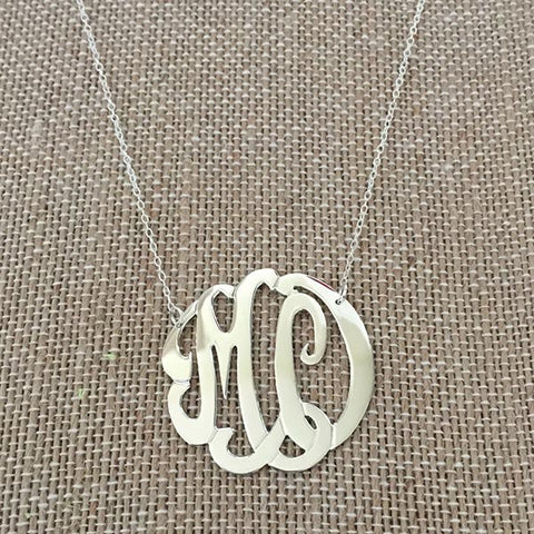 Double Initial Monogram Necklace - Sterling SIlver
