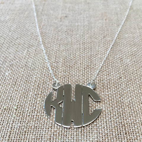 Sterling Silver Block Monogram necklace