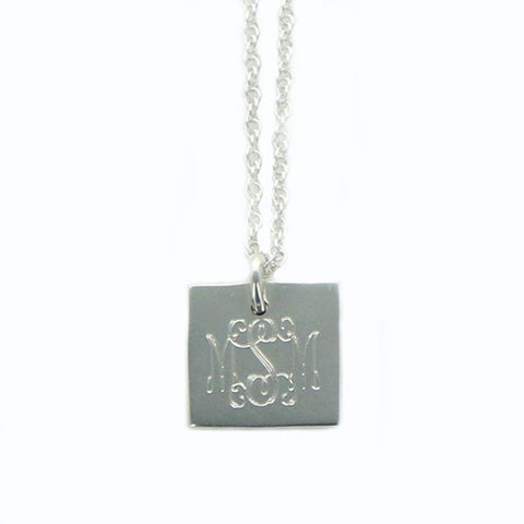 Monogram Silver Necklace With Square Pendant