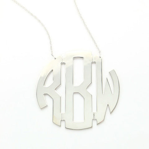 Circle Monogram Sterling Silver Necklace