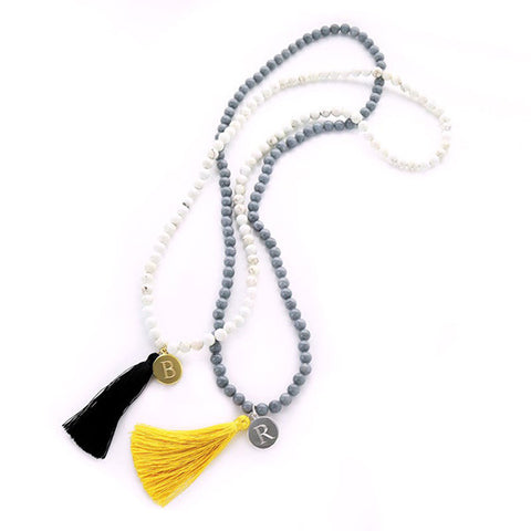 Monogram Tassel Necklace - Stone Beads