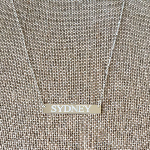 Horizontal Bar Nameplate Necklace - Sterling Silver