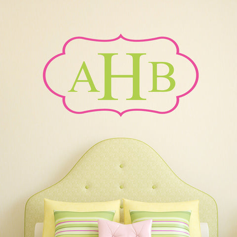 Oval Flourish Open Monogram Wall Decal-Design It