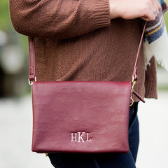 Monogram Foldover Crossbody Bag - Wine