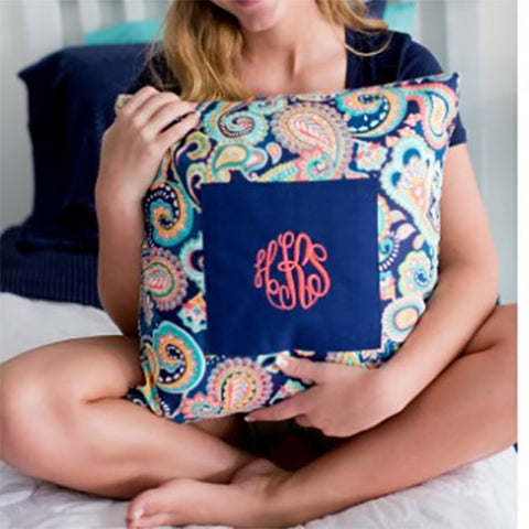 Navy Paisley Pillow Cover