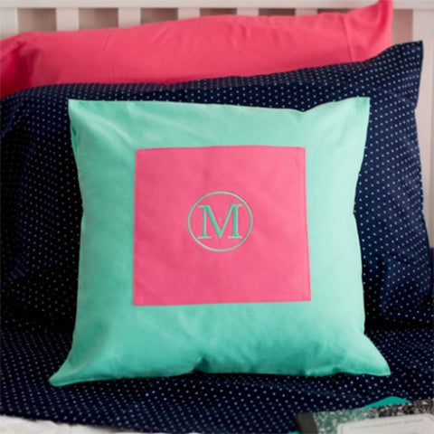 Pink and Mint Pillow Cover
