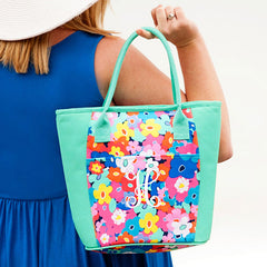 poppy and mint monogram cooler tote