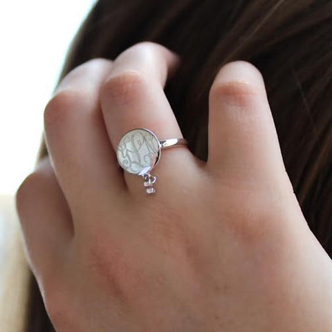 Oval Monogram Ring - CZ Accents