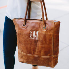 Rustic Leather Monogram Tote Bag
