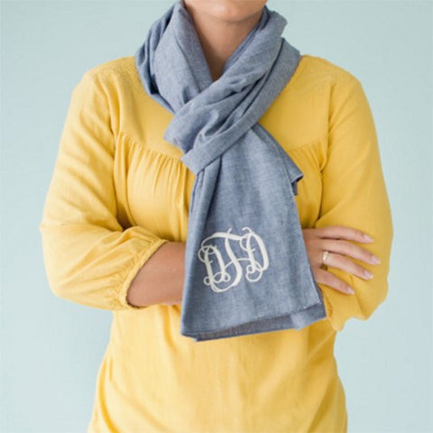 Chambray Monogram Scarf