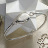 Monogram Sterling Silver Oval Bangle Bracelet