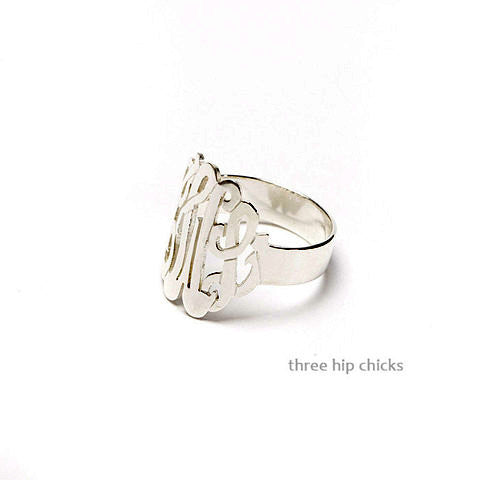 Initial Monogram Ring - Sterling Silver
