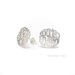 Sterling Silver Script Monogram Earrings on white background