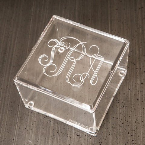 Square Acrylic Monogrammed Box with Lid