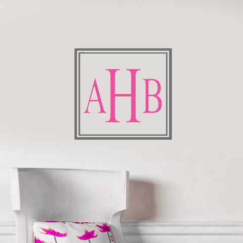 Square Open Monogram Wall Decal-Design It