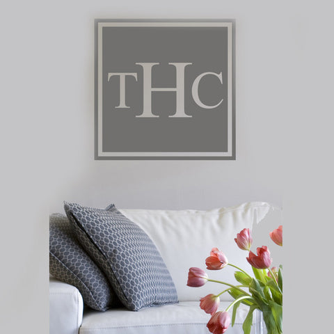 Square Solid Monogram Wall Decal- Design It