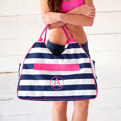 navy preppy stripe beach tote