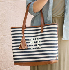 black and white tassel tote