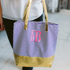 navy stripe color block tote