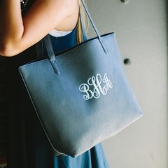 navy blue monogram luxe tote