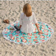 Monogram Round Beach Towel - Flora