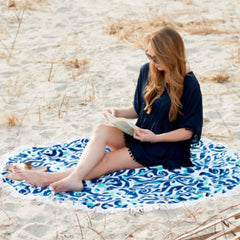 lagoon round monogram beach towel