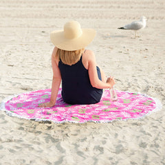pink pineapple round beach towel