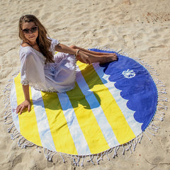 navy and yellow beach towel