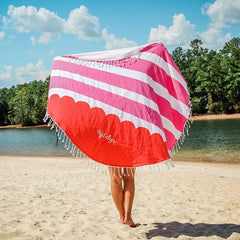 red stripe beach blanket