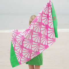 shells green and pink beach towel