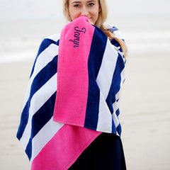 navy stripe beach towel