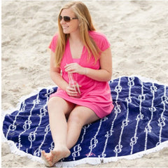 knot monogram navy beach towel