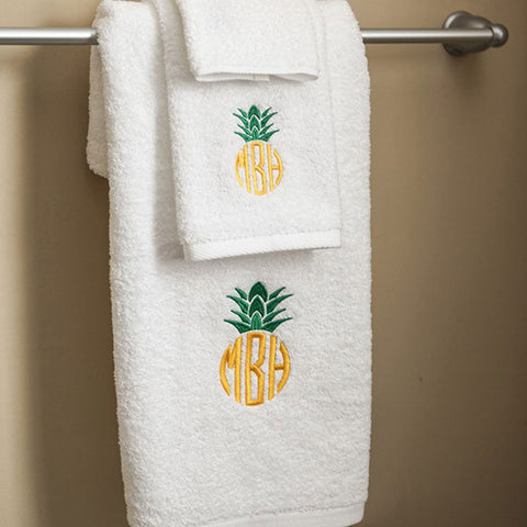 Monogram White Bath Towel Set