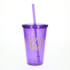 purple monogram tumbler
