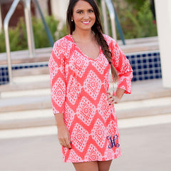 coral color monogram tunic